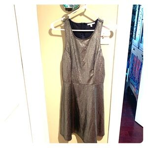 Fun flirty fit & flare silver metallic dress ~ L